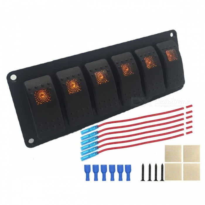 IZTOSS S2899-Z 6-Group Single Lamp Aluminum Switch Panel for Car / RV / Yacht Refitting - Black, Orange for sale in Bitcoin, Litecoin, Ethereum, Bitcoin Cash with the best price and Free Shipping on Gipsybee.com