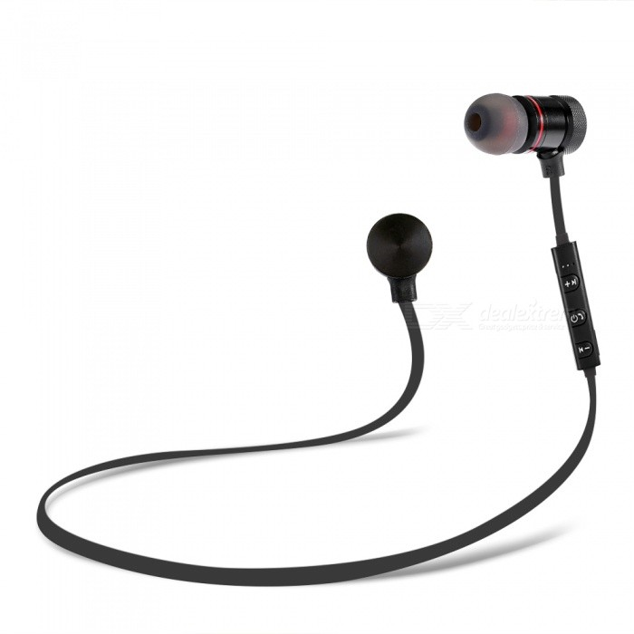SH01 Sports Metal Magnetic Bluetooth V4.1 In-Ear Earphones Earbuds for Running Jogging - Black