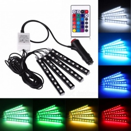 4Pcs Car RGB LED Strip Lights, Car Interior Lights with Remote Control