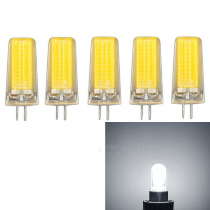 JRLED G4 5W COB Cold White Dimmable Light Bulbs (AC 220V, 5 PCS)G4<br>Color BIN5W Cold WhiteModelN/AMaterialSilica gel+LEDForm  ColorTransparent + YellowQuantity5 DX.PCM.Model.AttributeModel.UnitPower5WRated VoltageAC 220 DX.PCM.Model.AttributeModel.UnitConnector TypeG4Chip BrandEpistarChip TypeN/AEmitter TypeCOBTotal Emitters1Theoretical Lumens700 DX.PCM.Model.AttributeModel.UnitActual Lumens600 DX.PCM.Model.AttributeModel.UnitColor Temperature6000KDimmableYesBeam Angle360 DX.PCM.Model.AttributeModel.UnitWavelengthN/ACertificationCE ROHSOther FeaturesThis product uses integrated drive, support SCR dimming regulator brightness, chip using sapphire chip, brightness is 30% higher than the traditional light bulb.Packing List5 x G4 220V LED Bulbs<br>