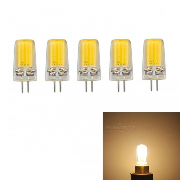 JRLED G4 3W COB Warm White Dimmable Light Bulbs (AC 220V, 5 PCS)G4<br>Color BIN3W Warm WhiteModelN/AMaterialSilica gel + LEDForm  ColorTransparent + YellowQuantity5 DX.PCM.Model.AttributeModel.UnitPower3WRated VoltageAC 220 DX.PCM.Model.AttributeModel.UnitConnector TypeG4Chip BrandEpistarChip TypeN/AEmitter TypeCOBTotal Emitters1Theoretical Lumens400 DX.PCM.Model.AttributeModel.UnitActual Lumens350 DX.PCM.Model.AttributeModel.UnitColor Temperature3000KDimmableNoBeam Angle360 DX.PCM.Model.AttributeModel.UnitWavelengthN/ACertificationCE ROHSOther FeaturesThis product uses integrated drive, support SCR dimming regulator brightness, chip using sapphire chip, brightness is 30% higher than the traditional light bulb.Packing List5 x G4 220V LED Bulbs<br>