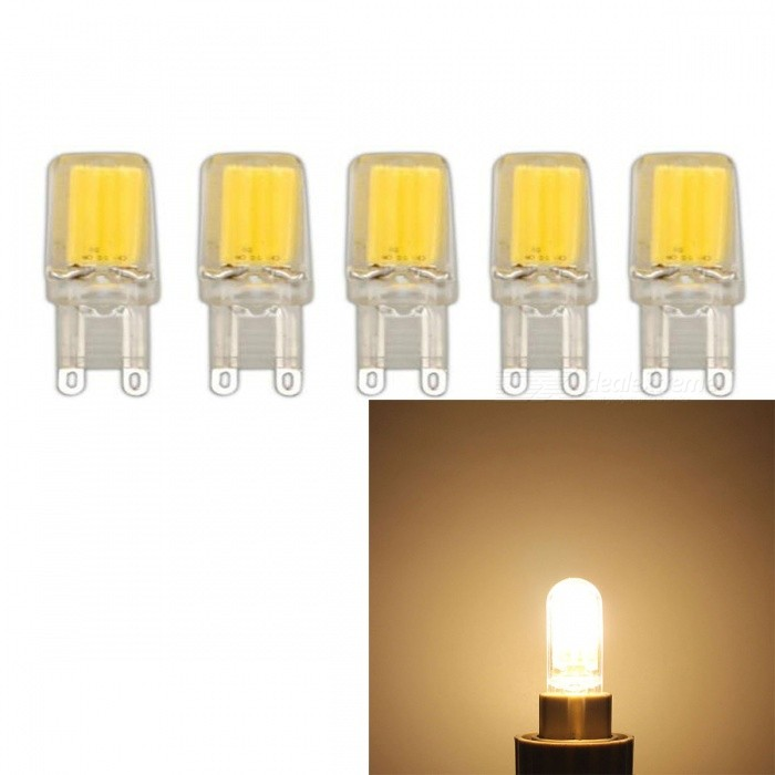 JRLED G9 3W COB Warm White Dimmable Light Bulbs (AC 220V, 5 PCS)G9<br>Color BIN3W Warm WhiteModelN/AMaterialSilica gel+LEDForm  ColorTransparent + YellowQuantity5 DX.PCM.Model.AttributeModel.UnitPower3WRated VoltageAC 220 DX.PCM.Model.AttributeModel.UnitConnector TypeG9Chip BrandEpistarChip TypeN/AEmitter TypeCOBTotal Emitters1Theoretical Lumens400 DX.PCM.Model.AttributeModel.UnitActual Lumens350 DX.PCM.Model.AttributeModel.UnitColor Temperature3000KDimmableYesBeam Angle360 DX.PCM.Model.AttributeModel.UnitWavelengthN/ACertificationCE ROHSOther FeaturesThis product uses integrated drive, support SCR dimming regulator brightness, chip using sapphire chip, brightness is 30% higher than the traditional light bulb.Packing List5 x G9 220V LED Blubs<br>