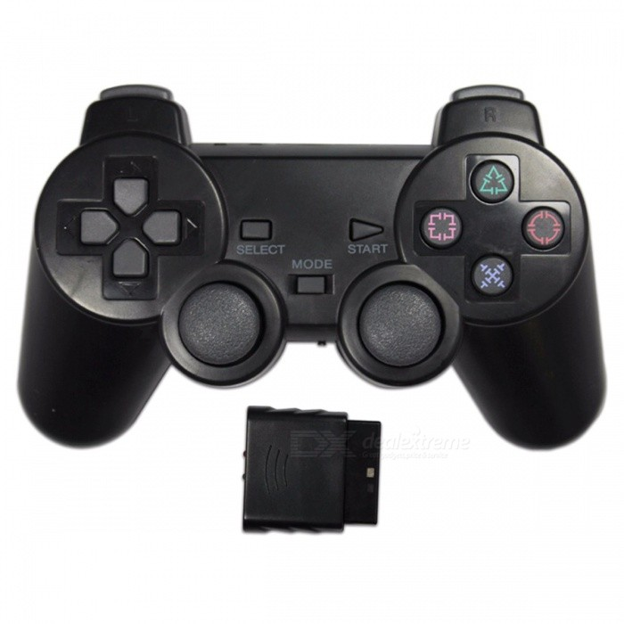 2.4GHz Wireless Gamepad Joystick Controller for PS2 Sony Playstation 2 - Black