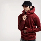Fashion-Mens-Hooded-Sweater-Zippered-Jacket-Red-(L)