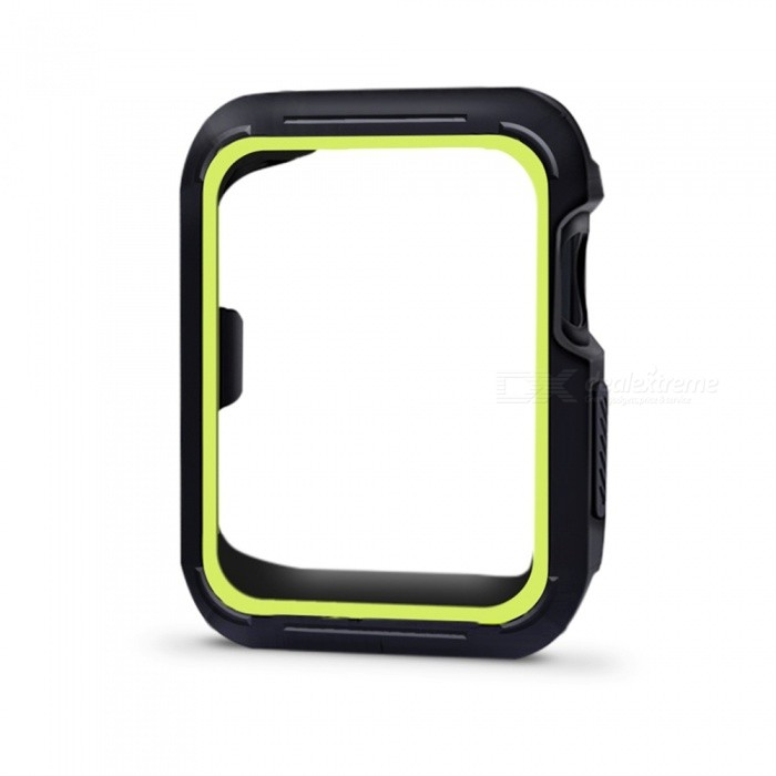 Protective Bumper Case Shock-proof Shatter-resistant Cover for 38mm Apple Watch Series 3/2/1, Nike+ Sport Edition - GreenWearable Device Accessories<br>Form  ColorBlack + Yellowish BlackModel38mm Apple Watch CaseQuantity1 DX.PCM.Model.AttributeModel.UnitMaterialSiliconPacking List1 x Protective Watch Case for Apple Watch Series 1/2/3<br>