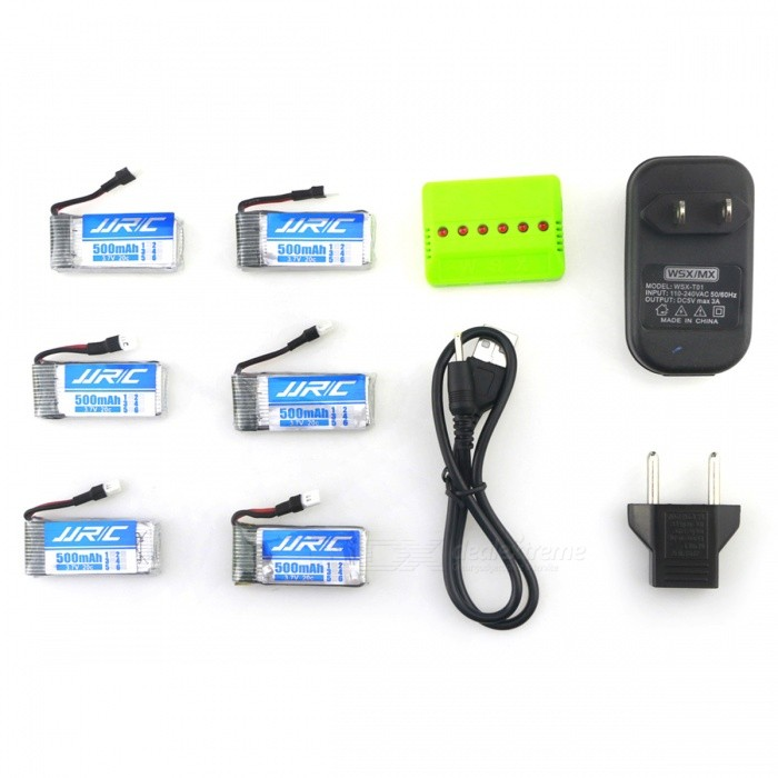 JJRC X6A - A16 Lithium-ion Battery Set with Six 3.7V 500mAh 20C Li-polymer Batteries for JJRC H43 RC Quadcopter