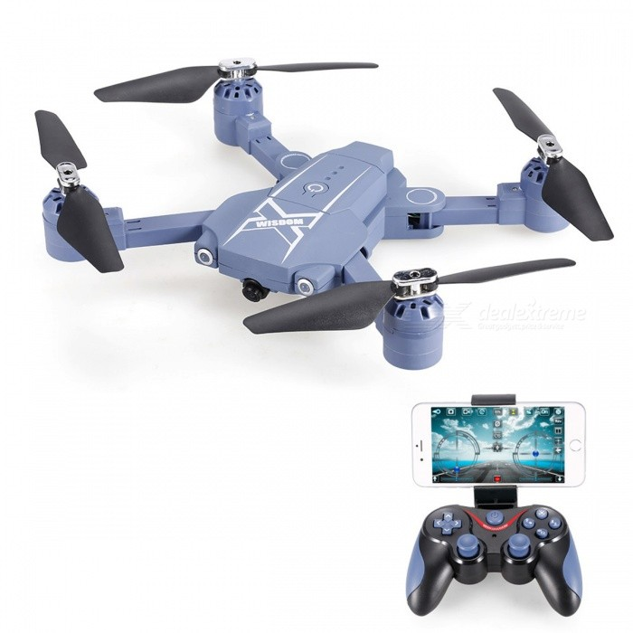 HC629 Fixed Height Folding 2.4G Fireakse Wi-Fi RC Quadcopter med 0.3MP kamera, lampe - blå
