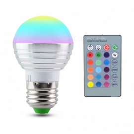 E27 3W 16-Color Changing RGB Magic Light Bulb Lamp with IR Remote Control