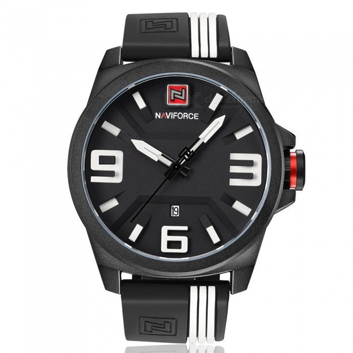 NAVIFORCE 9098 Mens Sports Army Military Quartz Wrist Watch - Black + White (With Gift Box)Sport Watches<br>Form  ColorBlack + White (With Gift Box)ModelNF9098Quantity1 DX.PCM.Model.AttributeModel.UnitShade Of ColorBlackCasing MaterialStainless SteelWristband MaterialSiliconeSuitable forAdultsGenderMenStyleWrist WatchTypeSports watchesDisplayAnalogMovementQuartzDisplay Format12 hour formatWater ResistantWater Resistant 3 ATM or 30 m. Suitable for everyday use. Splash/rain resistant. Not suitable for showering, bathing, swimming, snorkelling, water related work and fishing.Dial Diameter4.8 DX.PCM.Model.AttributeModel.UnitDial Thickness1.2 DX.PCM.Model.AttributeModel.UnitWristband Length24.5 DX.PCM.Model.AttributeModel.UnitBand Width2.4 DX.PCM.Model.AttributeModel.UnitBattery1 x Button batteryPacking List1 x Watch1 x Gift Box<br>