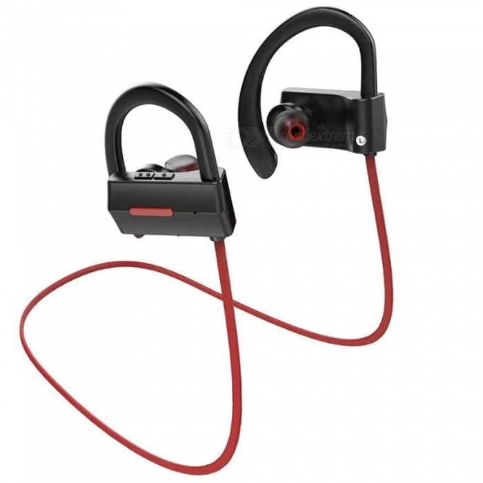BH-05 IPX4 Waterproof Anti-sweat Sports Bluetooth V4.1 Wireless Stereo Earphone with Mic for Sports Exercise - Black + RedHeadphones<br>Form  ColorBlack + RedBrandOthers,N/AModelBH-05MaterialABSQuantity1 DX.PCM.Model.AttributeModel.UnitConnectionBluetoothBluetooth VersionBluetooth V4.1Operating Range10mConnects Two Phones SimultaneouslyYesCable Length60 DX.PCM.Model.AttributeModel.UnitLeft &amp; Right Cables TypeEqual LengthHeadphone StyleBilateral,Earbud,In-EarWaterproof LevelIPX4Applicable ProductsUniversal,IPHONE 7,IPHONE 7 PLUSHeadphone FeaturesEnglish Voice Prompts,Noise-Canceling,Volume Control,With Microphone,For Sports &amp; ExerciseRadio TunerNoSupport Memory CardNoSupport Apt-XYesChannels2.0Impedance16 DX.PCM.Model.AttributeModel.UnitDriver Unit10mm * 2Battery TypeLi-polymer batteryBuilt-in Battery Capacity 100 DX.PCM.Model.AttributeModel.UnitStandby Time250 DX.PCM.Model.AttributeModel.UnitTalk Time6 DX.PCM.Model.AttributeModel.UnitMusic Play Time8 DX.PCM.Model.AttributeModel.UnitPower AdapterUSBPower Supply5V 1APacking List1 x Bluetooth Earphone1 x USB cable1 x User manual3 x Set of Ear Caps (1 set on the earphone)1 x Retail box<br>