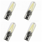 ZHAOYAO 4Pcs T10 3W AC/DC 12-24V COB LED Glass Car Indicator Lights - Cold White