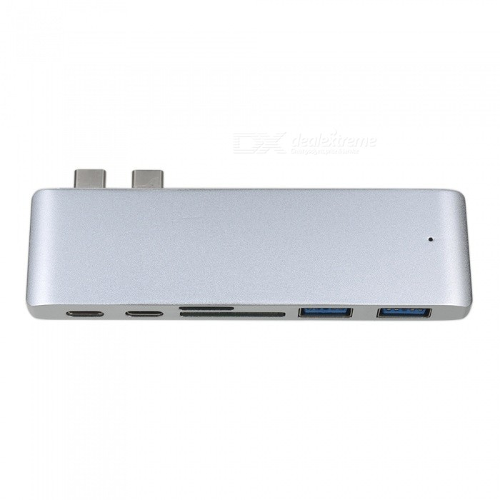 Cwxuan USB 3.1 Type-C to Type-C, USB 3.0 HUB, TF SD Card Reader with Charging Port for Macbook Pro - SilverLaptop/Tablet Cable&amp;Adapters<br>Form  ColorSilverQuantity1 DX.PCM.Model.AttributeModel.UnitShade Of ColorSilverMaterialAluminum alloyInterfaceOthers,USB 3.1 Type-C to Type-C,USB 3.0 Hub, TF SD Card ReaderTypeLaptopsCompatible BrandAPPLETransmission Rate10 DX.PCM.Model.AttributeModel.UnitPacking List1 x Adapter<br>