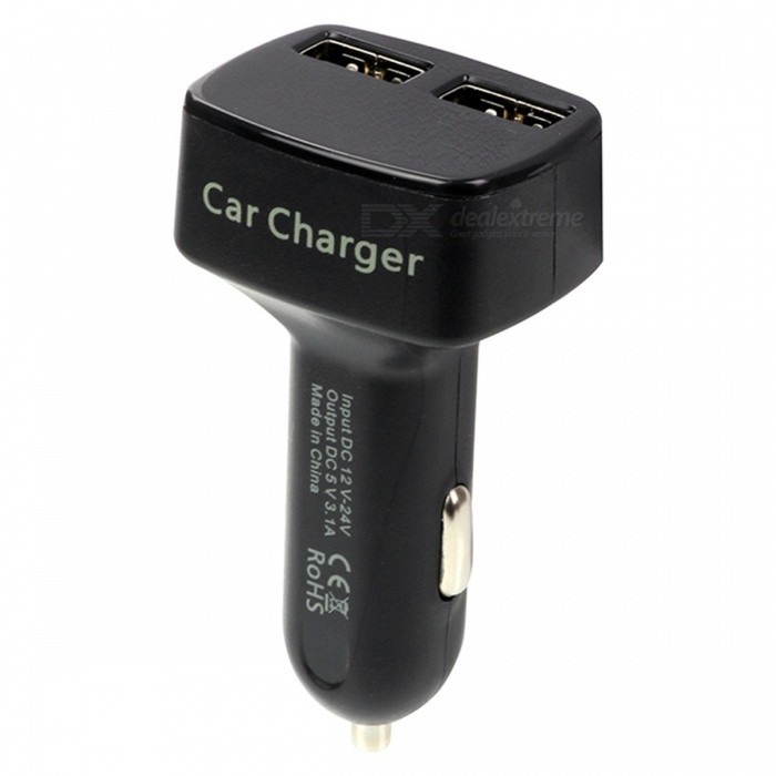 4-in-1 DC5V 3.1A Dual USB Car Charger  with Voltage / Temperature / Tester Current Meter Display - BlackCar Power Chargers<br>Form  ColorBlackModelA1Quantity1 DX.PCM.Model.AttributeModel.UnitMaterialABSInput Voltage12~24 DX.PCM.Model.AttributeModel.UnitOutput Voltage5 DX.PCM.Model.AttributeModel.UnitOutput Current3100 DX.PCM.Model.AttributeModel.UnitPacking List1x Car Charger Adapter<br>