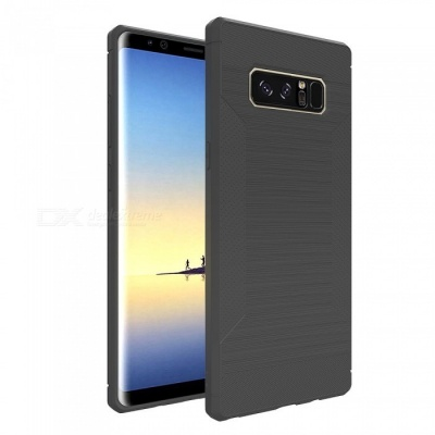 Mini Smile Protective Wire Drawing Carbon Fiber + TPU Back Case Anti-Slip Cover for Samsung Galaxy Note 8 - Deep Grey
