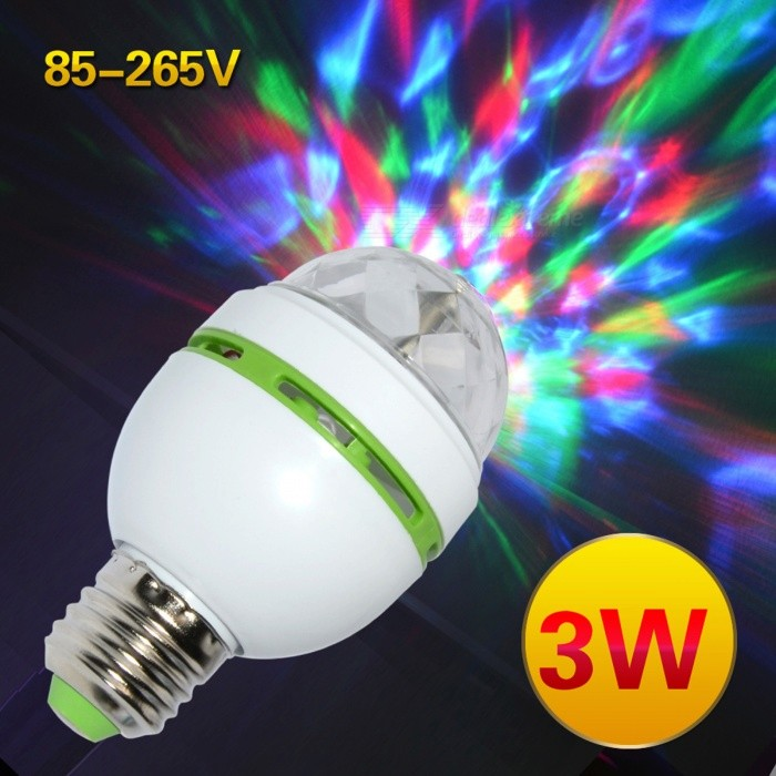 E27 3W Colorful Auto Rotating RGB LED Bulb Stage Light - White