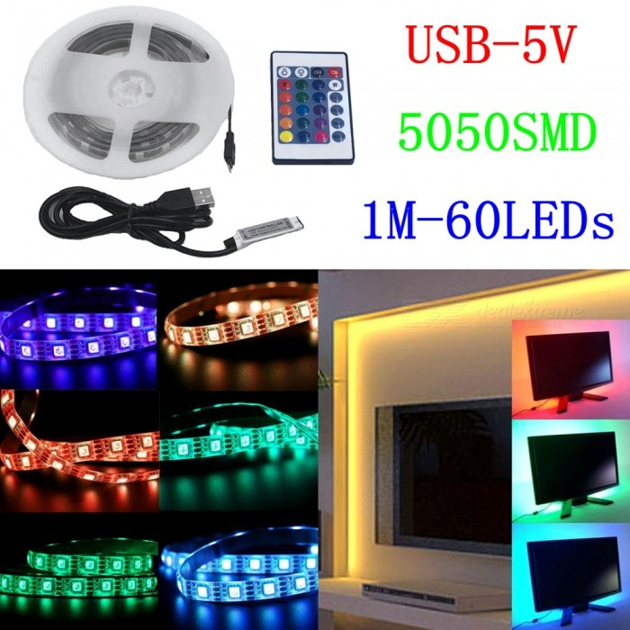 ZHAOYAO IP65 Waterproof USB 5V 14W 5050SMD-1M/60LEDs RGB LED Strip Light with 24-Key Remote Control + Connector