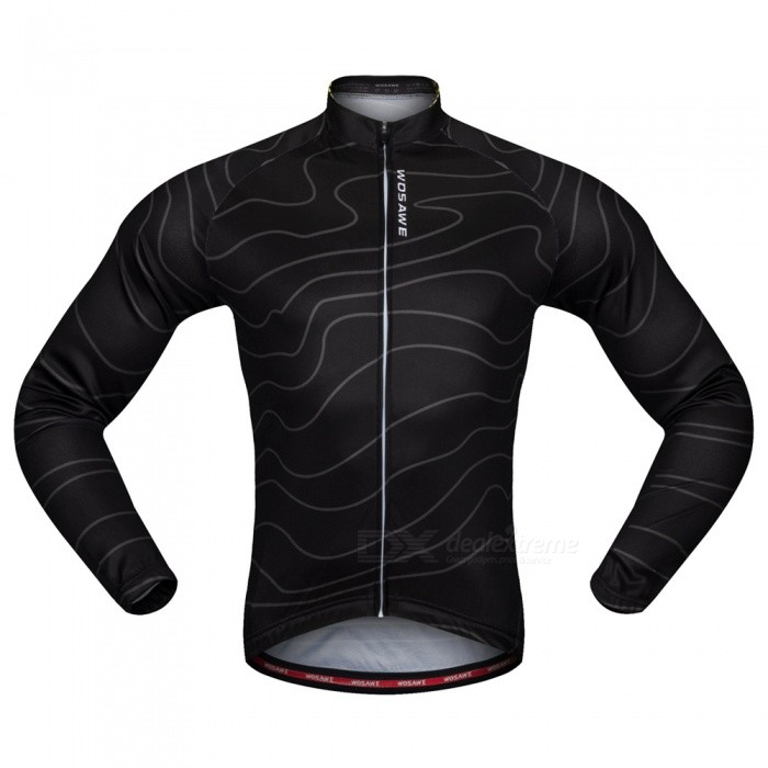 WOSAWE BC234 Unisex High Elastic Long Sleeve Cycling Jersey for Spring Autumn - Black