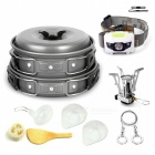 7-Piece Portable Hard Anodized Aluminum Cooking Ware Cookware Picnic Bowl Pot Pan Kit for Two Persons