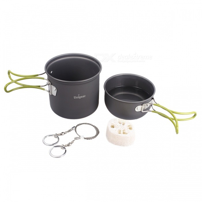 Portable Folding Hard Anodized Aluminum Cooking Ware Cookware Picnic Bowl Pot Pan Kit (CP-5 in 1)Form  ColorSilverQuantity1 DX.PCM.Model.AttributeModel.UnitMaterialAluminium AlloyBest UseCampingTypeStove Accessories,Camp StovesPacking List1 x Pot (D*H: 12.5*10.5cm)1 x Pot Cover1 x Wire Saw (Length: 53cm)1 x Loofah Sponge1 x Mesh Bag1 x Mini Portable Stove<br>