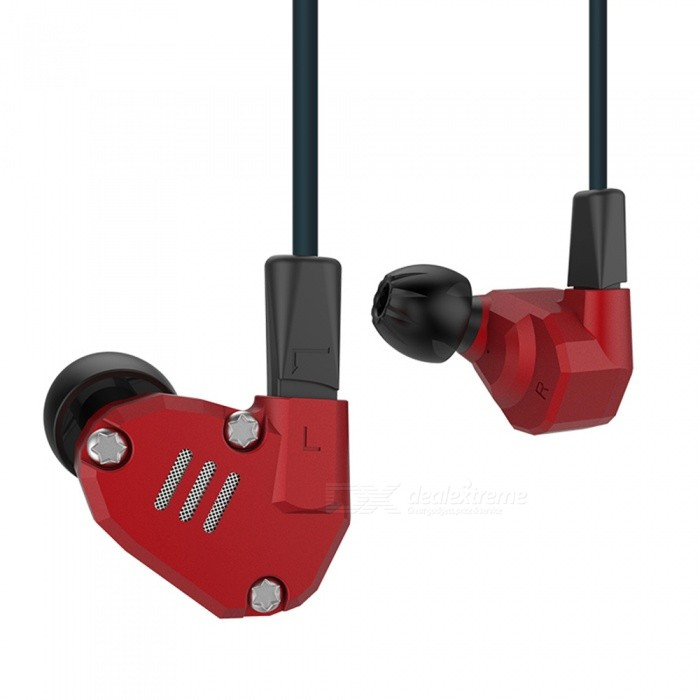 KZ ZS6 Metal 2DD + 2BA Hi-Fi DJ Monitor Running Sports 3.5mm con cable Auriculares intrauditivos - Rojo