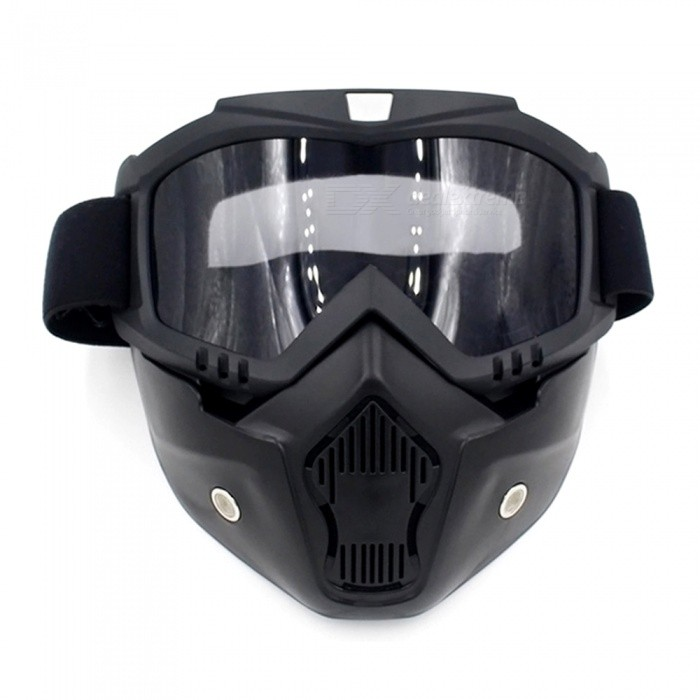Motorcycle Helmet Mask Harley Goggles for Outdoor Bike Riding - Black + Transparent