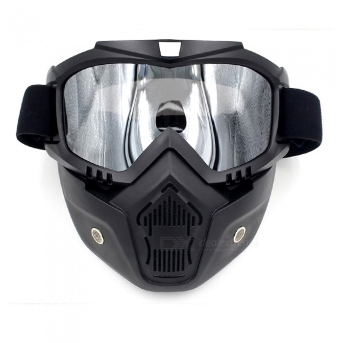 Stylish Motorcycle Helmet Mask Harley Goggles for Outdoor Bike Riding - Black + SilverSport Sunglasses<br>Frame ColorBlackLens ColorChrome SilverQuantity1 DX.PCM.Model.AttributeModel.UnitShade Of ColorBlackFrame MaterialSoft rubberLens MaterialPCProtectionUV400GenderUnisexSuitable forAdultsFrame Height10 DX.PCM.Model.AttributeModel.UnitLens Width18 DX.PCM.Model.AttributeModel.UnitBridge Width3 DX.PCM.Model.AttributeModel.UnitOverall Width of Frame20 DX.PCM.Model.AttributeModel.UnitPacking List1 x Goggles<br>