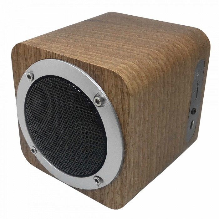 B06 Mini Wooden Bluetooth V4.0 Speaker w/ FM, TF Card Slot - BrownMedia Player Speakers<br>Form  ColorBrownModelB06MaterialWoodenQuantity1 DX.PCM.Model.AttributeModel.UnitShade Of ColorBrownTotal Power6 DX.PCM.Model.AttributeModel.UnitSNR86dbSensitivity-80dBFrequency Response75Hz-20KHzImpedance3 DX.PCM.Model.AttributeModel.UnitChannels1.0Interface3.5mm,Others,TF / Micro USBRemote Control TypeWireless,wiredSupports Card TypeMicroSD (TF)Max Extended Capacity32GRadio TunerYesFM Frequency76-108MHzBuilt-in Battery Capacity 1800 DX.PCM.Model.AttributeModel.UnitPower AdapterOthers,USBCertification5V 1APacking List1 x Speaker1 x Users Manual1 x Charging Cable (100cm)<br>