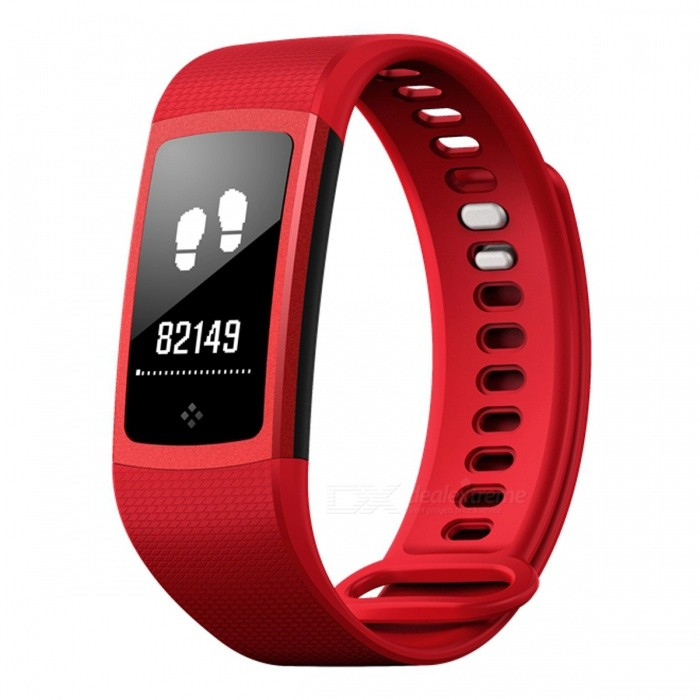 S8 Touch Screen Smart Bracelet with Oxyen Blood Pressure, Heart Rate Monitor - Red