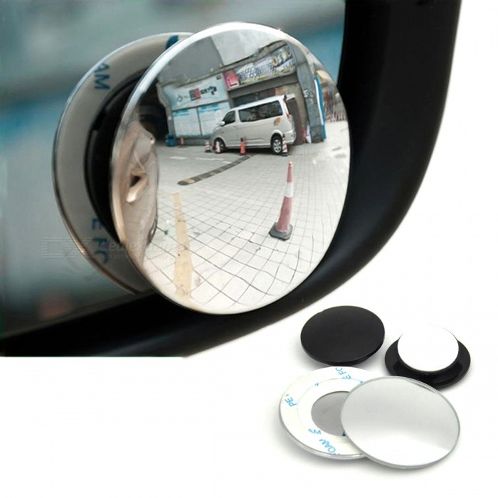 360 Degrees Frameless Ultrathin Wide Angle Round Convex Blind Spot Rearview Mirror for Parking - 2PCS