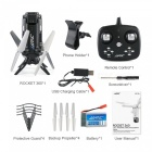 JJRC H51 Rocket 360 Wi-Fi FPV Foldable RC Quadcopter RTF Drone with 720P 90 Degree Adjustable Camera - Black