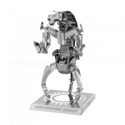 DIY Jigsaw Puzzle 3D Stainless Steel Metal Star Wars Destroyer Robot Assembly Model Educational Toy - Silver