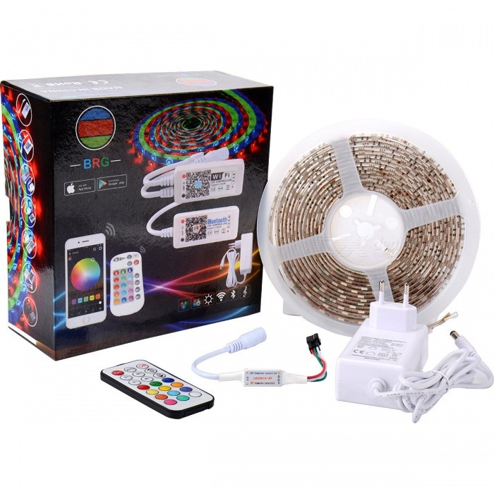 BRG Premium 150-SMD5050 5m RGB LED Strip Light Kit with 21-Key Addressable IR Controller and Power Supply