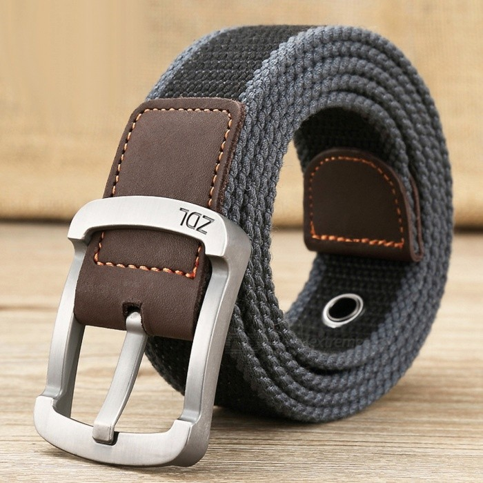 Outdoor Premium Canvas Tactical Belt, Luxury Casual Strap for Men &amp; WomenBelts and Buckles<br>Form  ColorLight Grey + Black + Multi-ColoredModelCDWHQuantity1 DX.PCM.Model.AttributeModel.UnitShade Of ColorGrayMaterialCanvasGenderUnisexSuitable forAdultsBelt Length125 DX.PCM.Model.AttributeModel.UnitBelt Width3.5 DX.PCM.Model.AttributeModel.UnitPacking List1 x Belt<br>