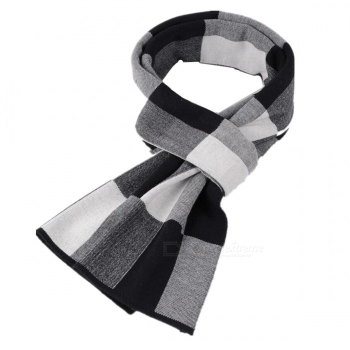 Classic-Plaid-Wool-Thicken-Mens-Scarf-Gray-2b-White-2b-Black