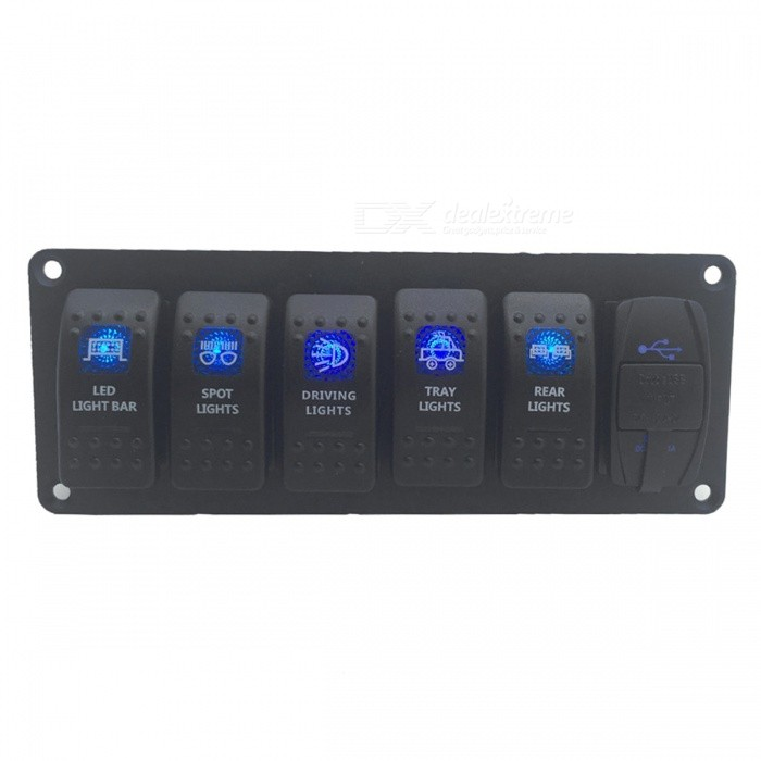 S2904-Z Steam / Garage / Car / Yacht  5-gang Push-button Switch Panel w/ USB Port