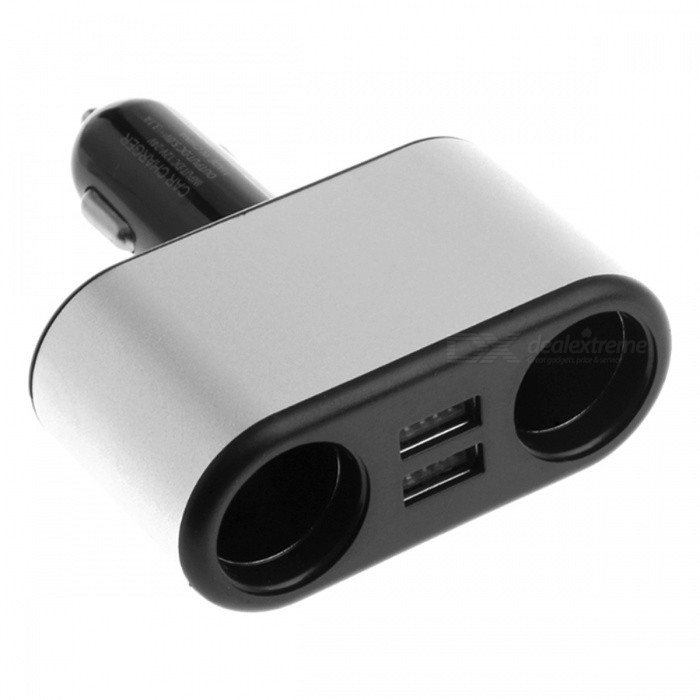 1 to 2 Car Cigarette Lighter Plug to Dual Socket, Dual USB Adapter Charger for Cell Phones, Tablet PCs and Most Devices - SilverCar Power Chargers<br>Form  ColorSilver + MulticoloredModelA2Quantity1 setMaterialAluminum Alloy + ABSInput Voltage12~24 VOutput Voltage5 VOutput Current3.1 APacking List1 x Car Cigarette Lighter Charger<br>