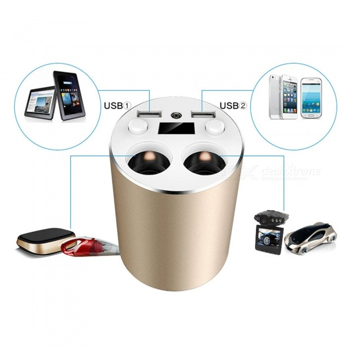 Aluminum 1A-3.1A Dual USB Car Cigarette Lighter Socket Charger AdapterCar Power Chargers<br>Form  ColorGolden + White + Multi-ColoredModelA6Quantity1 DX.PCM.Model.AttributeModel.UnitMaterialABS + MetalInput Voltage12~24 DX.PCM.Model.AttributeModel.UnitOutput Voltage5 DX.PCM.Model.AttributeModel.UnitOutput Current3.1 DX.PCM.Model.AttributeModel.UnitPacking List1 x Charging Socket Adapter1 x Power Cable<br>