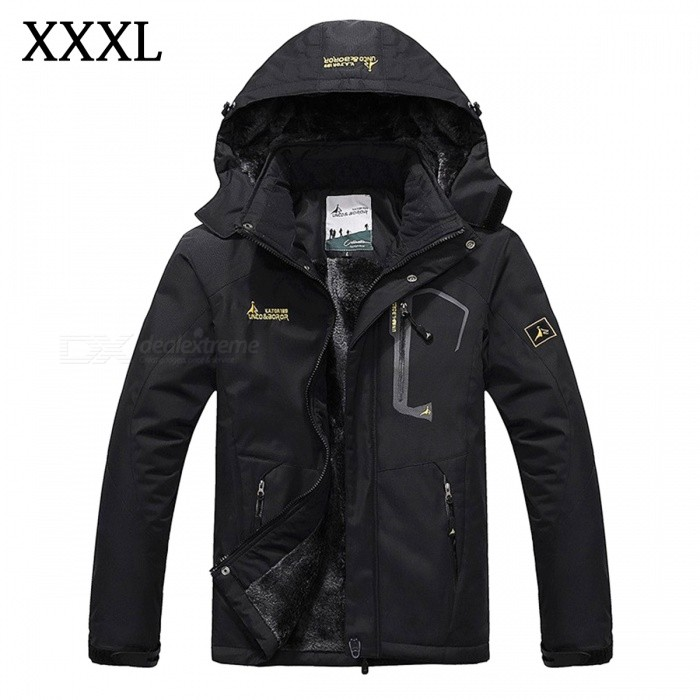 Winter Windproof Mens Warm Hooded Outwear Jacket Parkas - Black (XXXL)Jackets and Coats<br>Form  ColorBlackSizeXXXLModelMY229Quantity1 DX.PCM.Model.AttributeModel.UnitShade Of ColorBlackMaterialPolyester,CottonStyleCasualTop FlyZipperShoulder Width54 DX.PCM.Model.AttributeModel.UnitChest Girth126 DX.PCM.Model.AttributeModel.UnitSleeve Length68.5 DX.PCM.Model.AttributeModel.UnitTotal Length77 DX.PCM.Model.AttributeModel.UnitSuitable for Height180-185 DX.PCM.Model.AttributeModel.UnitPacking List1 x Jacket<br>