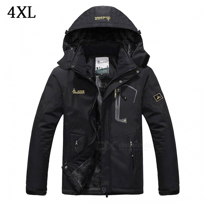 Buy Winter Windproof Men's Warm Hooded Outwear Jacket Parkas - Black (4XL) with Litecoins with Free Shipping on Gipsybee.com