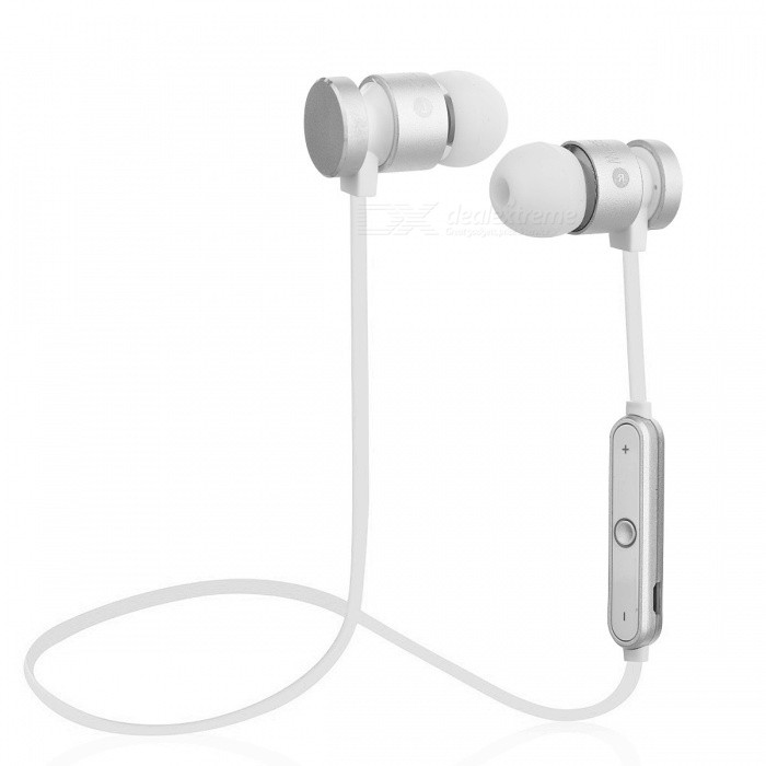 Cwxuan Sports Magnetic Bluetooth V4.2 Stereo Earphone with Microphone for Cell Phones - SilverHeadphones<br>Form  ColorSilverBrandCwxuanMaterialPlastic + aluminum alloyQuantity1 DX.PCM.Model.AttributeModel.UnitConnectionBluetoothBluetooth VersionBluetooth V4.2Operating Range10mCable Length63 DX.PCM.Model.AttributeModel.UnitHeadphone StyleBilateralWaterproof LevelIPX0 (Not Protected)Applicable ProductsUniversal,IPHONE 7,IPHONE 7 PLUSHeadphone FeaturesEnglish Voice Prompts,Phone Control,Long Time Standby,Magnetic Adsorption,Volume Control,With Microphone,Lightweight,For Sports &amp; ExerciseRadio TunerNoSupport Memory CardNoSupport Apt-XNoChannels2.0Battery TypeLi-ion batteryBuilt-in Battery Capacity 95 DX.PCM.Model.AttributeModel.UnitStandby Time80 DX.PCM.Model.AttributeModel.UnitTalk Time5 DX.PCM.Model.AttributeModel.UnitMusic Play Time4 DX.PCM.Model.AttributeModel.UnitPacking List1 x Bluetooth Earphones1 x USB Charging Cable (Length 18cm±2cm)<br>