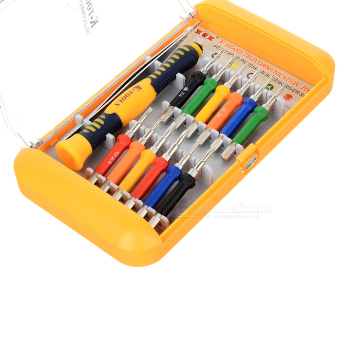 Precision Screw Drivers Toolkit for Electronics DIY - Red + Orange (14-Piece Set)