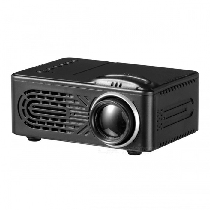 Mini Portable 1080P HD LED Projector for Home Use - Black (EU Plug)Projectors<br>Form  ColorBlack (EU Plug)BrandOthers,N/AQuantity1 DX.PCM.Model.AttributeModel.UnitMaterialABSShade Of ColorBlackTypeLCDBrightnessUnder 1000 lumensBrightness400 DX.PCM.Model.AttributeModel.UnitMenu LanguageEnglishBuilt-in SpeakersYesLife Span20000 DX.PCM.Model.AttributeModel.UnitEmitter BINLEDDisplay Size25-80 inchesAspect RatioOthers,4:3 / 16:9Contrast Ratio1000:1Maximum Resolution1080PThrow Distance0.9-2.6MAudio FormatsOthers,MP3 / WMA / AAC / AC3 / M4aVideo FormatsOthers,RM, VOB, MPG, DAT, MPEG, RMVB, AVI, MOV, MP4Picture FormatsOthers,JPG / JPEG / BMP / GIF / PNG / GIF)Input ConnectorsAV,USB,HDMIPower ConsumptionUnder 20WPower AdapterEU PlugPacking List1 x Portable LED Projector1 x EU Plug Power Adapter1 x Remote Control1 x AV Cable1 x Instruction Manual<br>