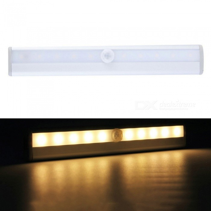 P-TOP 3000-3500K caluroso blanco 10-LED IR Detector de movimiento infrarrojo Sensor inalámbrico Closet Cabinet Light-Plata