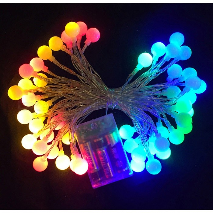 P-TOP 5m 50-LED RGB Battery Operated Cherry Balls Fairy String Decorative Light for Wedding Christmas Light