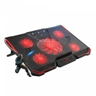 CoolCold Ice Devil 4 Notebook Cooling Pad con 5 ventiladores - Rojo, Negro