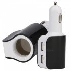 Universal Car Cigarette Lighter Splitter Socket Power Adapter Charger with Dual USB Ports - Black + White
