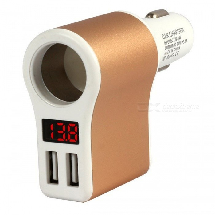 3.1A Dual USB Car Charger Power Adapter with Battery Voltage Display
