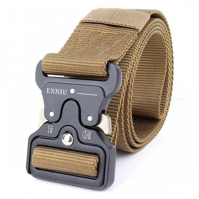 Mens-Canvas-Belt-Metal-Insert-Buckle-Military-Army-Tactical-Nylon-Training-Belt-Khaki