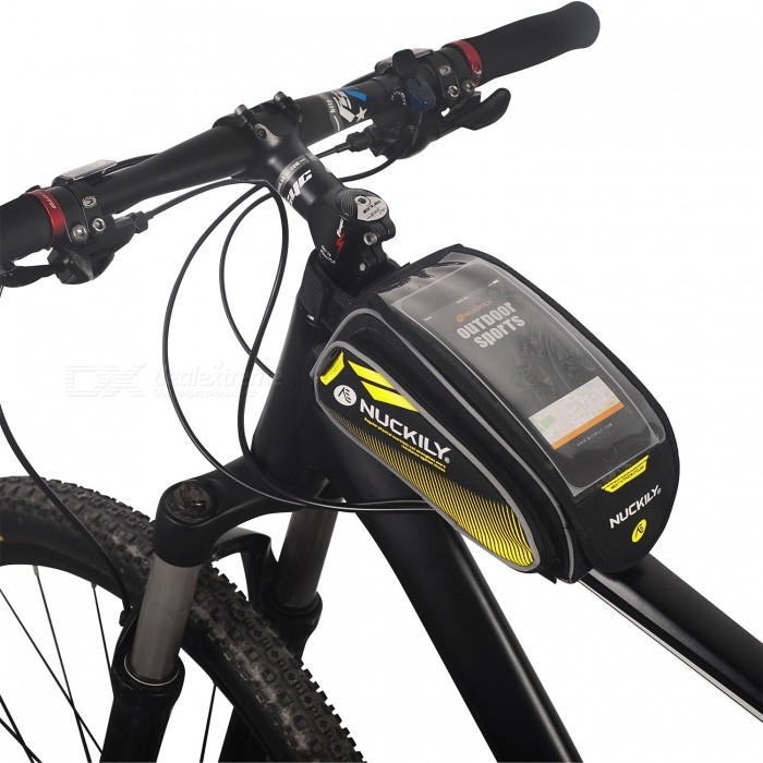 NUCKILY PL06 Touch-screen Bike Front Frame Saddle Bag for Mobile Phone - YellowBike Bags<br>Form  ColorYellowModelPL06Quantity1 DX.PCM.Model.AttributeModel.UnitMaterialNylon OxfordTypeSaddle BagsCapacity/ DX.PCM.Model.AttributeModel.UnitWaterproofYesGenderUnisexBest UseCycling,Mountain Cycling,Recreational Cycling,Road Cycling,Triathlon,Bike commuting &amp; touringPacking List1 x Saddle Bag<br>