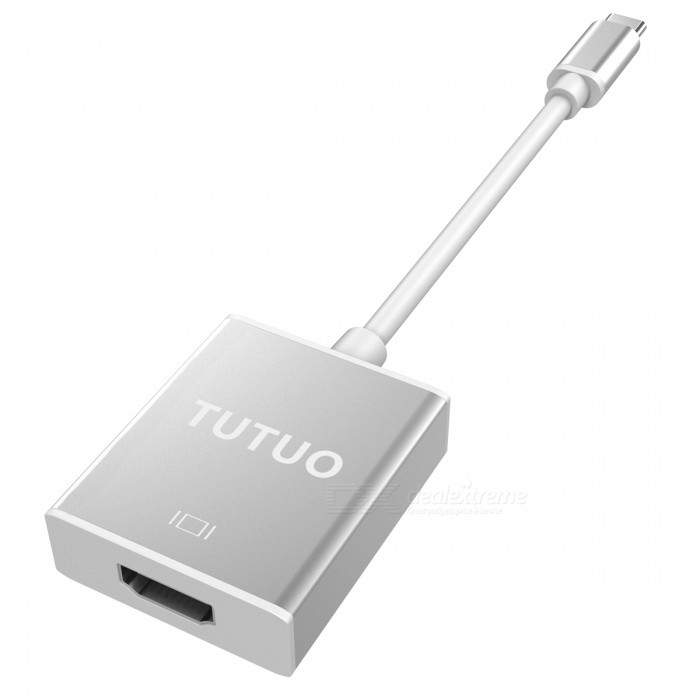 TUTUO USB 3.1 Type-C USB-C to HDMI Female Adapter - SilverUSB Hubs &amp; Switches<br>Form  ColorSilverQuantity1 DX.PCM.Model.AttributeModel.UnitMaterialLa Lega di AlluminioShade Of ColorSilverIndicator LightNoPort Number2Spacing18cmWith Switch ControlNoInterfaceOthers,USB3.1Transmission Rate5 DX.PCM.Model.AttributeModel.UnitPowered ByUSBSupports SystemWin7 32,Win7 64,Win8 32,Win8 64,Android 2.x,Android 4.x,Others,win10Packing List1 x TUTUO Type-C to HDMI Adapter<br>